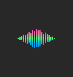 sound wave dj logo gradient equalizer lines voice vector image