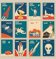 Space mission posters banners flyers vector