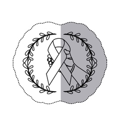 Sticker arch of leaves with hand holding a ribbon vector