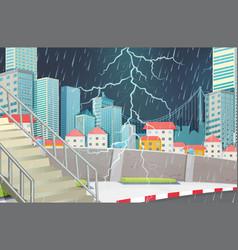 Storm city scape scene vector