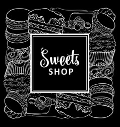 sweets shop square banner with baked desserts in vector image