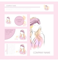 Template cards and banners with woman in turban vector