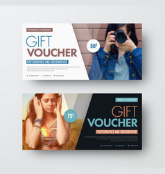 template of a gift black and white voucher with vector image