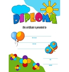 template of child diploma or certificate to vector image