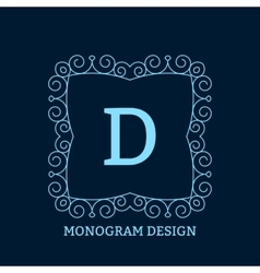 the linear blue monogram vector image