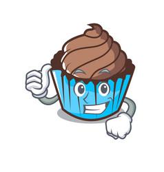 thumbs up chocolate cupcake character cartoon vector image
