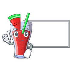 Thumbs up with board character tasty beverage vector