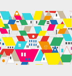 Town and city buildings seamless pattern with vector