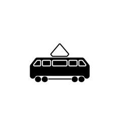 tram icon black on white vector image