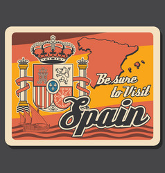 Travel to spain retro poster with map and crown vector