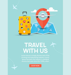 travel tourism banner background luggage fun tour vector image