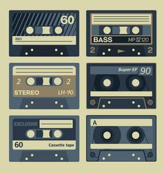 Vintage cassette set vector