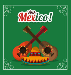 Viva mexico - guitars and hat party vector