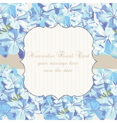 Watercolor Blue flowers card vector image