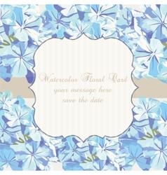Watercolor Blue flowers card vector