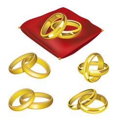 wedding rings - realistic set of objects vector image