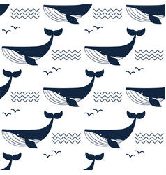 Whale aquatic animal seamless vector