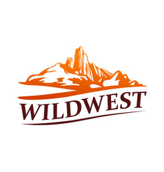 wild west logo with western golden canyon from usa vector image