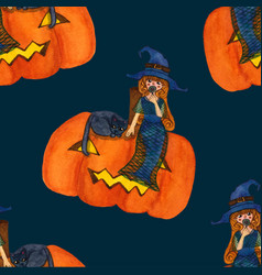 Witch and cat sitting on pumpkin on blue vector