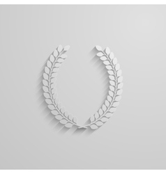 with laurel wreath 3d paper design with long vector image