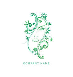 woman floral face vector image