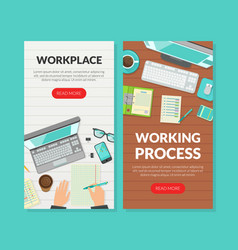 workplace working process landing page templates vector image