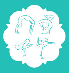 Yoga and pilates poses silhouettes vector