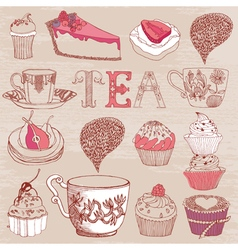 Card with tea cakes vector image vector image