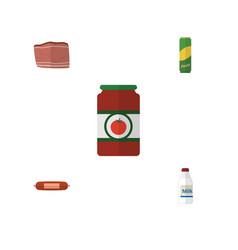 flat icon meal set of kielbasa beef ketchup and vector image vector image