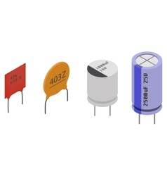 Isometric Electronic components Capacitors vector image vector image