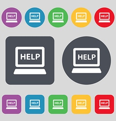 Laptop tech service icon sign A set of 12 colored vector image