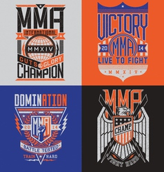MMA t-shirt design emblem set vector image vector image