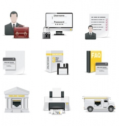 online banking icon set vector image vector image