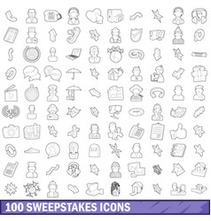 100 sweepstakes icons set outline style vector image