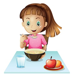 A girl eating breakfast vector image vector image