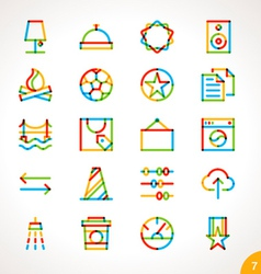 Highlighter line icons set 7 vector