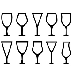 isolated white alcohol glasses set vector image vector image