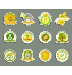 Natural organic food brands stickers set vector image