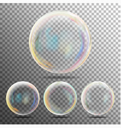 realistic soap bubbles with rainbow reflection set vector image vector image