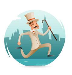 running gentleman happy victorian hurry wealthy vector image vector image