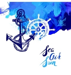 Travel marine background Sea and ocean nautical vector image vector image