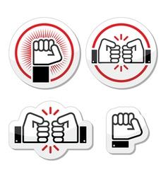 Fist fist bump icons set vector image