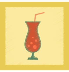 flat shading style icon glass of cocktail vector image