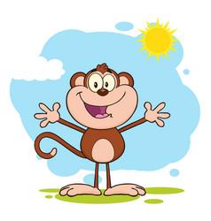 happy welcoming monkey cartoon character vector image vector image