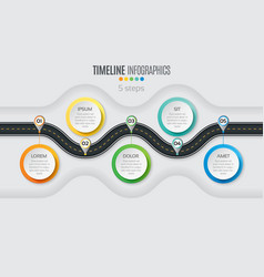 navigation map infographic 5 steps timeline vector image