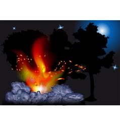 night bonfire vector image vector image