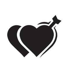 valentines two heart arrow black icon vector image vector image