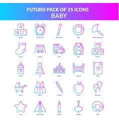 25 blue and pink futuro baby icon pack vector image