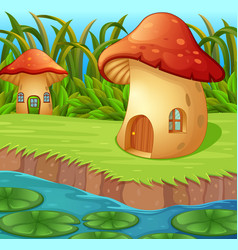 A waterlily in front of a mushroom house vector