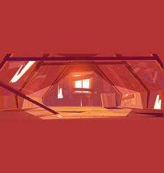 Abandoned house attic interior empty old mansard vector